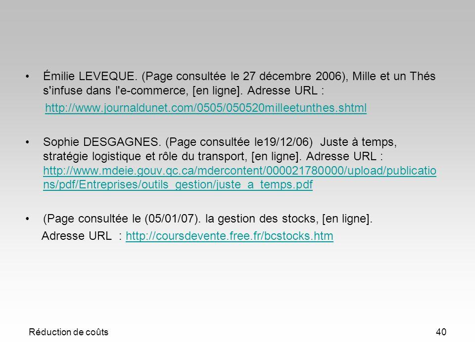 (Page consultée le (05/01/07). la gestion des stocks, [en ligne].
